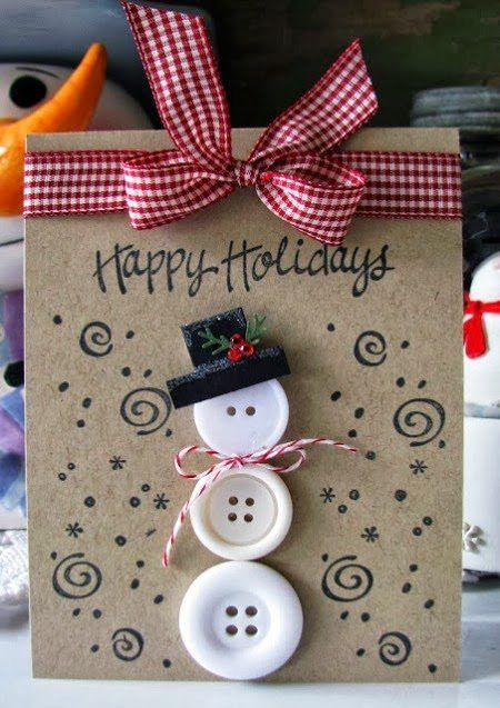 Button Christmas Card for Kids