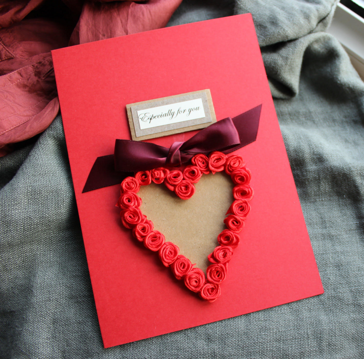 Red floral Heart Birthday Card for Boyfriend