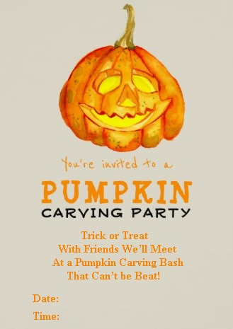 Funny Pumpkin Carving Party Invitation Card 1