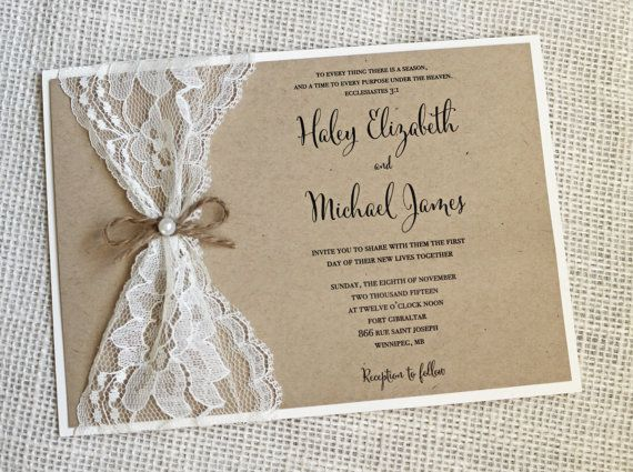 Lace Rustic Wedding Invitation