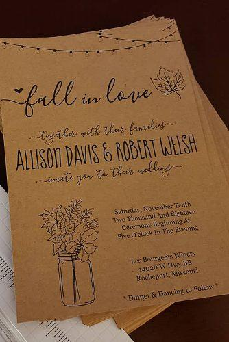 Printed DIY wedding invitations rustic card