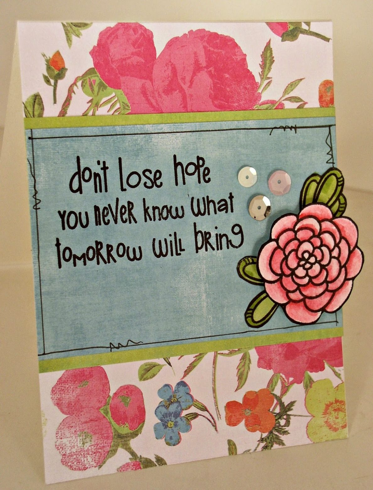 Handmade don't lose hope card